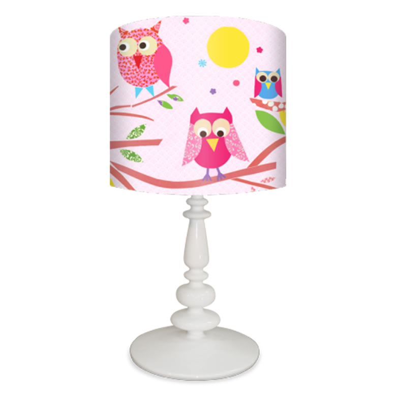 Owls on a Branch Lamp on Pink Base by Oopsy daisy