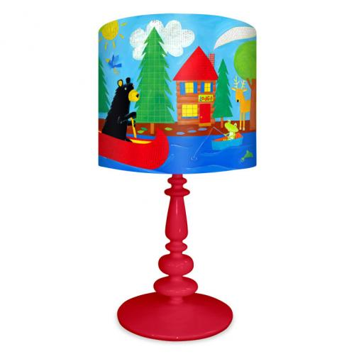 Black Bear Lodge Kid's Lamp on Red Base by Oopsy daisy Thumbnail