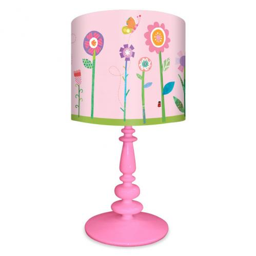Flower Garden Girl's Lamp on Pink Base by Oopsy Daisy Thumbnail
