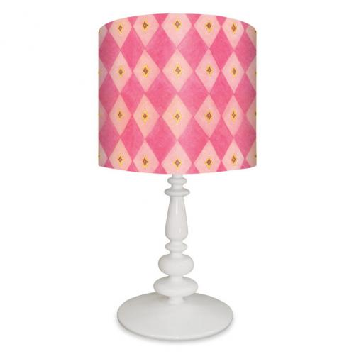 Pink Argyle Kid's Lamp on White Base by Oopsy daisy Thumbnail
