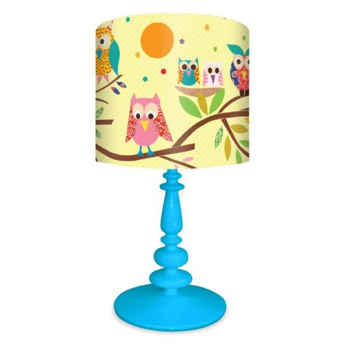 Owls on a Branch Lamp on Blue Base by Oopsy daisy Thumbnail