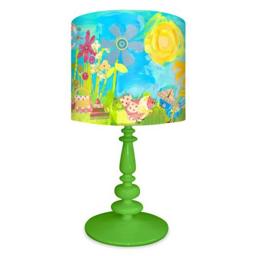 Summer Birdies Kid's Lamp on Green Base by Oopsy daisy Thumbnail