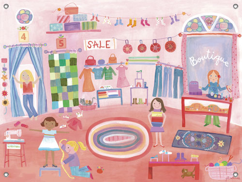 Boutique Girls' Mural by Oopsy daisy Thumbnail 1