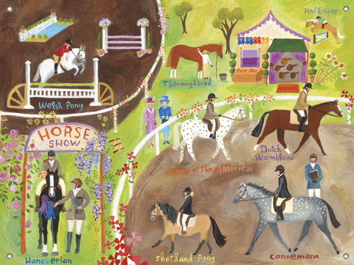 English Horse Show Girls' Mural by Oopsy daisy