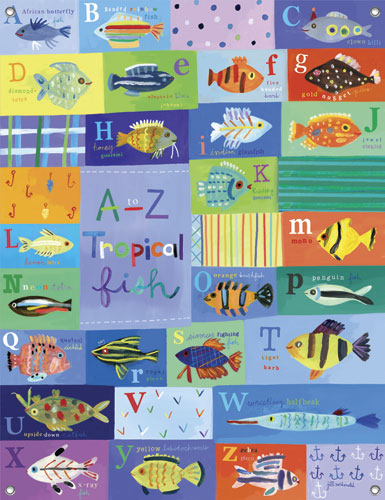 A-Z Tropical Fish Kids' Mural by Oopsy daisy