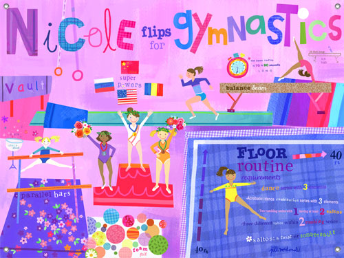 Flipping For Gymnastics Girls' Mural by Oopsy daisy Thumbnail