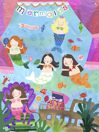 Mermaid performance girls 39 mural by oopsy daisy for Eric carle mural