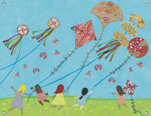 Kite Day Girls' Mural by Oopsy daisy