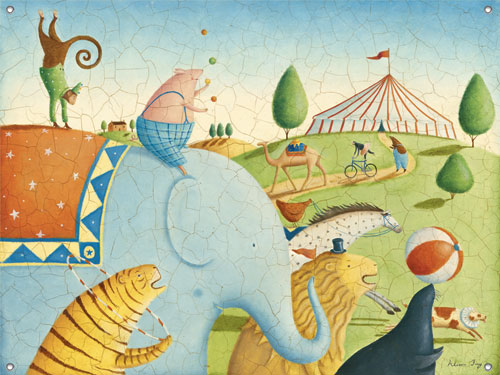 Circus parade childrens 39 mural by oopsy daisy for Daisy fuentes wall mural