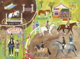 English Horse Show Girls Mural by Oopsy daisy