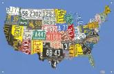 License Plate USA Map - Blue Kids' Mural by Oopsy daisy