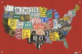 License Plate USA Map - Red Kids Mural by Oopsy daisy