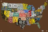 License Plate USA Map - Chocolate Kids Mural by Oopsy daisy