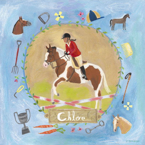 Personalized Equestrian Champion on Blue