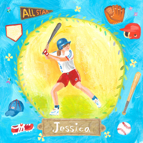 Personalized Baseball Star-  Girl by Oopsy daisy