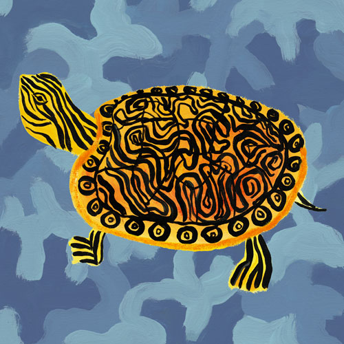 Blue Camo Turtle by Oopsy daisy