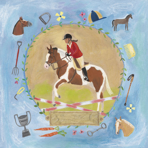 Equestrian Champion on Blue by Oopsy daisy