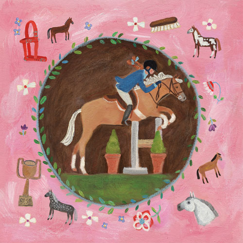 Equestrian Champion on Pink by Oopsy daisy