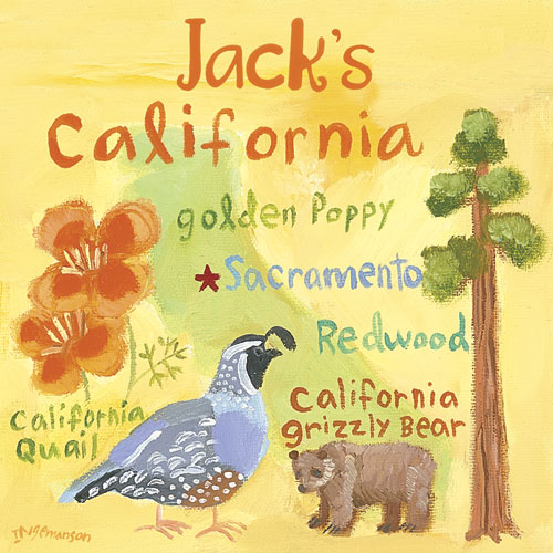 California Personalized State Square by Oopsy daisy