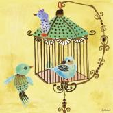 Yellow Birdcage by Oopsy daisy