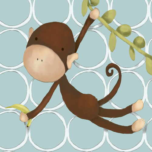 Hanging Monkey, Powder Blue by Oopsy daisy