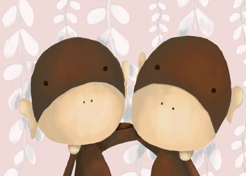 Two of a Kind Monkeys, Powder Pink by Oopsy daisy