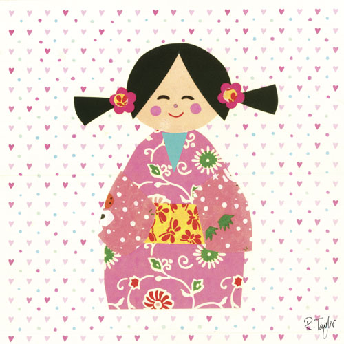 Kimono Girl with Pig Tails by Oopsy daisy