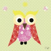 Mod Owl on Green by Oopsy daisy