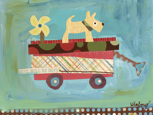 Pup on a Wagon by Oopsy daisy