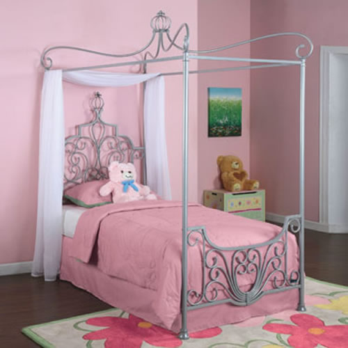 Adorable Full Kids Bedroom Set For Girl Playful Room Huz: Princess Rebecca Silver Twin Canopy Bed By Powell Company