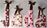 Jadas Polka Dot Wood Letters in pink and brown