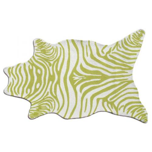 Zebra Green Shaped Indoor-Outdoor Rug