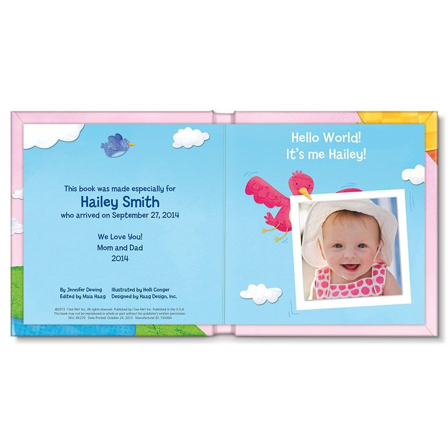 hello world personalized board book for girls