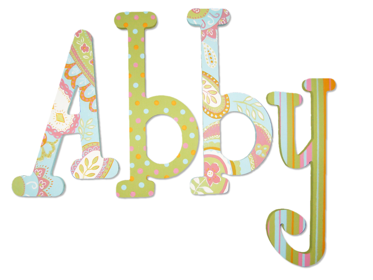 Girls' Blue Green Paisley Wood Letters