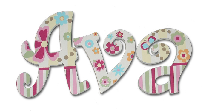 avas whimsical flowers hand painted wall letters