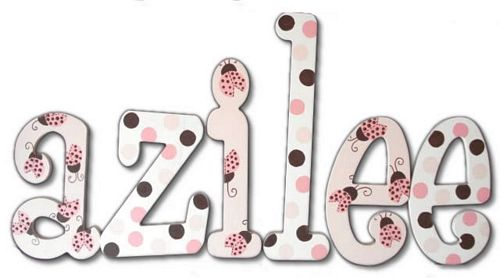 Pink Lady Bug Hand Painted Wall Letters Thumbnail 1