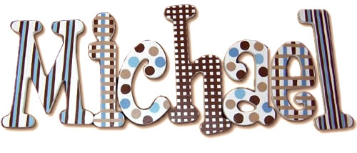 michael s blue and brown hanging wooden letters