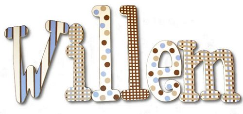 Michael's Blue and Brown Hanging Wooden Letters Thumbnail 2