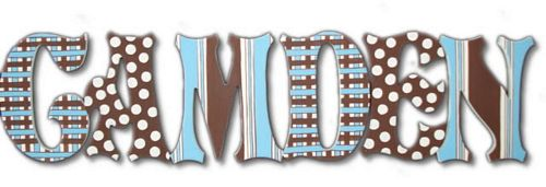 Mad About Plaid Custom Painted Wall Letters in Blue Thumbnail 1