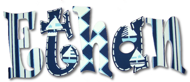 Grayson's Blue Boats Hanging Wooden Letters Thumbnail 1