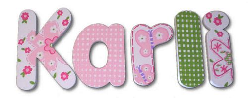 Pink & Green Daisy Dots Hand Painted Wall Letters Thumbnail 1