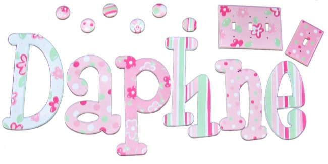 Daphne Dots In Pink Green Hand Painted Wall Letters