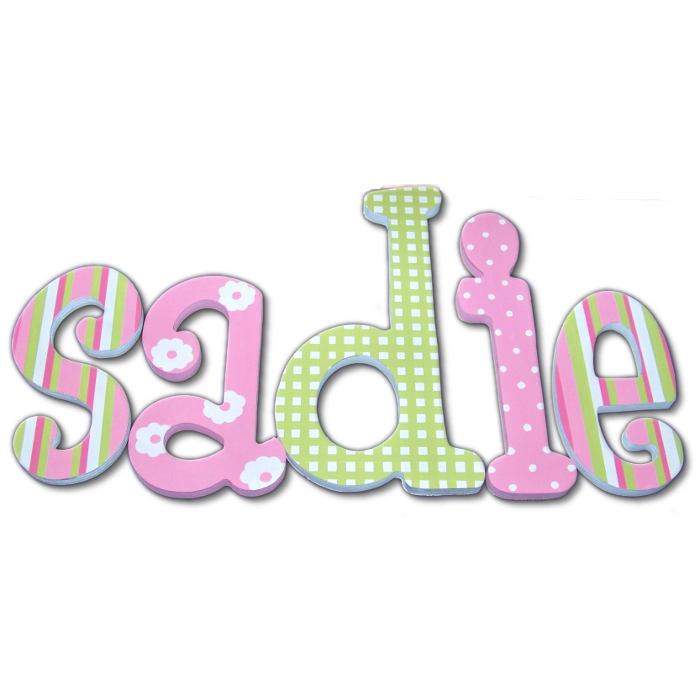 Pink and Green Daisy Dot Wood Wall Letters Thumbnail 3