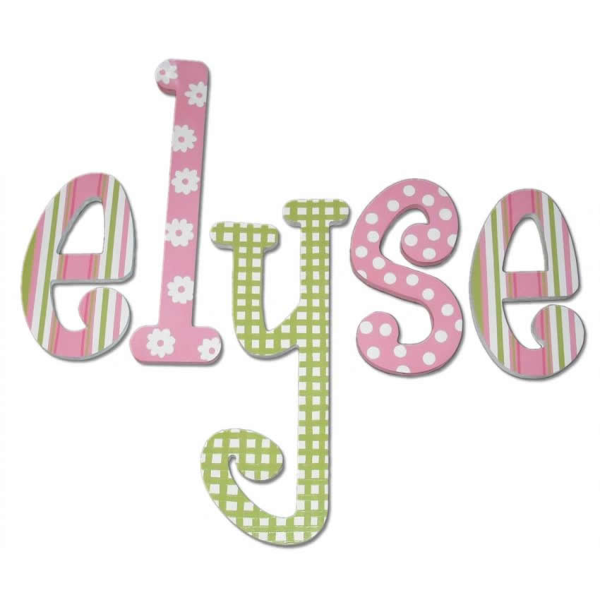 Pink and Green Daisy Dot Wood Wall Letters Thumbnail 1