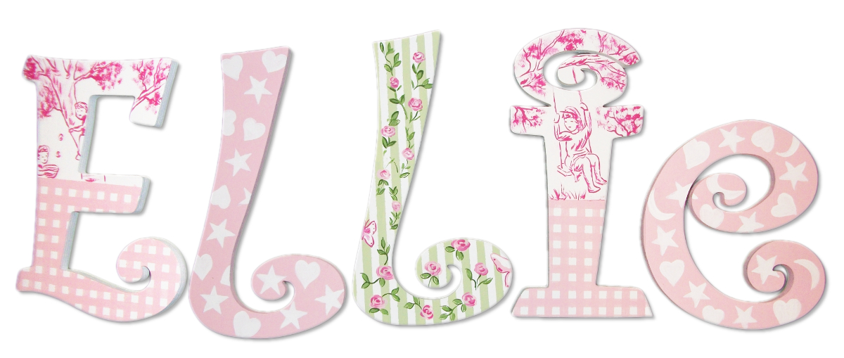 Ellie S Pink And Green Handpainted Letters With Toile