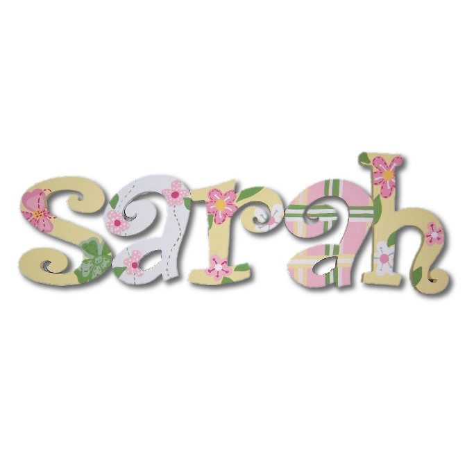 Soft Yellow Garden Hand Painted Wall Letters Thumbnail 1