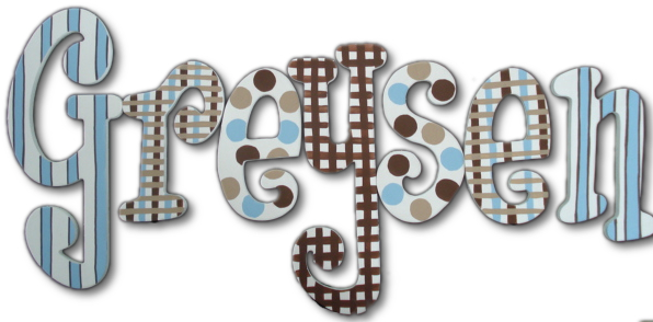 Michael's Blue and Brown Hanging Wooden Letters Thumbnail 1