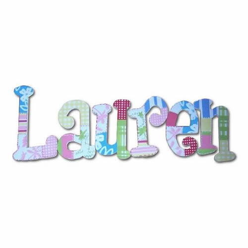 Hawaiian Patchwork Hand Painted Wall Letters Thumbnail 2