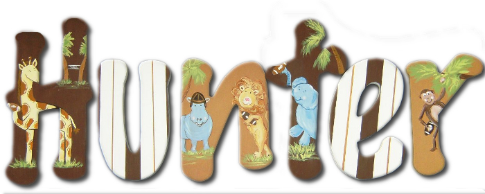 Safari Animals Hand Painted Wooden Letters