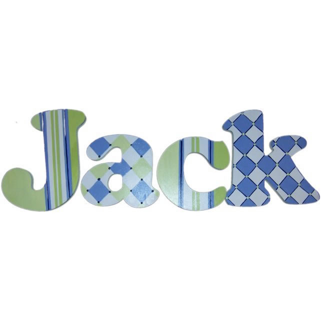 Preppy Blue & Lime Wood Wall Letters Thumbnail 1